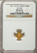 California Fractional Gold: , 1871 50C Liberty Octagonal 50 Cents, BG-924, R.3, MS64 ProoflikeNGC. NGC Census: (6/6). . Fro...