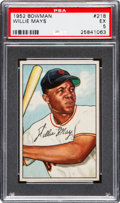 Baseball Cards:Singles (1950-1959), 1952 Bowman Willie Mays #218 PSA EX 5....