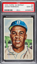 Baseball Cards:Singles (1970-Now), 1973 Topps '53 Reprint Jackie Robinson #2 PSA Gem Mint 10 - Pop One. ...