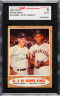 "Autographs:Sports Cards, Signed 1962 Topps Roger Maris ""AL & NL Homer Kings"" #401 SGCAuthentic. ..."
