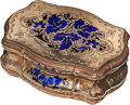 Silver Smalls:Snuff Boxes, A Continental 14K Gold and Enameled Snuff Box, probably Swiss,circa 1850-1890. Marks: CMWS, 14, (shield with chevron). ...