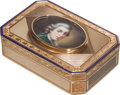 Silver Smalls:Snuff Boxes, A Georges Rémond & Compagnie Swiss 18K Gold and Enameled SnuffBox with Miniature Portrait, Geneva, Switzerland, circa 1805-...