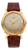 Timepieces:Wristwatch, Hamilton Van Horn 14k Gold Electric Wristwatch. ...