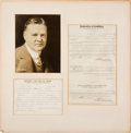 Autographs:U.S. Presidents, Herbert Hoover Consent for Use of Name as First Choice for thePresidency Signed Form....