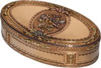 A Swedish Vari-Color 18K Gold Snuff Box attributed to Frans Wilhelmsson, Stockholm, Sweden, circa 1786 Marks: F