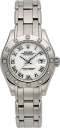 Timepieces:Wristwatch, Rolex Ref. 69319 Unused Pearlmaster Lady's White Gold & Diamond Wristwatch. ...