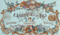 Art Glass:Other , Framed French Art Nouveau Painted Milk Glass Advertisement Sign:E. Laroque & ses Fils. Circa 1910. Ht. 34-1/4 x...
