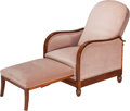 Furniture , Continental Art Deco Mahogany and Satinwood Upholstered Lounge Chair Circa 1930. Ht. 34-1/2 x W. 26-1/2 in.. ...