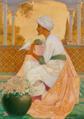 Works on Paper, George Washington Hood (American, 1869-1949). Legends of the Alhambra interior illustration, 1909. Oil on paper laid on ...