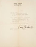Autographs, George Gershwin Typed Letter Signed....