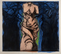 Jim Dine (b. 1935) Rise up, Solitude!, 1985 Drypoint with hand-coloring 48-1/2 x 53-1/2 inches (1
