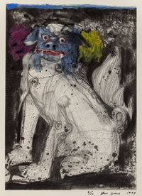 Jim Dine (b. 1935) Triptych - Fu Dogs, 1990 Etching in black with hand painted acrylic embellishment