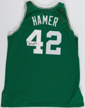 Basketball Collectibles:Uniforms, 1996-97 Steve Hamer Game Worn, Signed Boston Celtics Jersey andShorts....