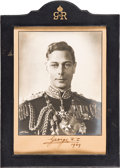Autographs, King George VI and Queen (Mother) Elizabeth Signed Photographs in Presentation Frames. ...