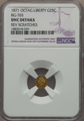 California Fractional Gold , 1871 25C Liberty Head Octagonal 25 Cents, BG-765, R.3, MS60 NGCDetails. NGC Census: (0/47). PCGS Population: (16/226). ...