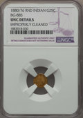 California Fractional Gold , 1880/76 25C Indian Round 25 Cents, BG-885, R.3, -- ImproperlyCleaned -- NGC Details. UNC. NGC Census: (0/30). PCGS Populat...