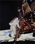 Autographs:Celebrities, Buzz Aldrin Signed Large Lunar Surface Color Photo Originally from His Personal Collection....