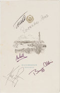 Explorers:Space Exploration, Apollo 11 Crew-Signed (1969) Private Lunch Menu from Yugoslavia,also Signed by President Tito and His Wife Madame Broz....