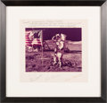 Explorers:Space Exploration, Apollo 17 Large Lunar Surface Color Photo Crew-Signed on the Mat,in Framed Display. ...