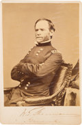 Autographs:Military Figures, William T. Sherman Brady Cabinet Card Twice Signed. ...