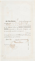 Autographs:Inventors, Edison Phonograph Works Stock Certificate Issued to Thomas Edison,and Signed Twice by Him....
