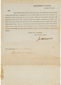 Autographs:U.S. Presidents, [War of 1812]. James Monroe Document Signed as Secretary of State....