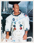 Autographs:Celebrities, Apollo 12: Charles Conrad Signed White Spacesuit Color Photo....
