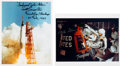 Autographs:Celebrities, Mercury-Atlas 6 (Friendship 7) Signed Color Photos (Two):John Glenn and Scott Carpenter. ... (Total: 2 Items)