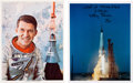 Autographs:Celebrities, Wally Schirra Signed Mercury-Atlas 8 (Sigma 7) Color Photos(Two).... (Total: 2 Items)