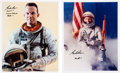 Autographs:Celebrities, Gordon Cooper Signed Silver Spacesuit Color Photos (Two). ... (Total: 2 Items)