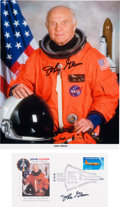Autographs:Celebrities, John Glenn Signed STS-95 (Discovery) Orange Spacesuit ColorPhoto and Launch Cover.... (Total: 2 Items)