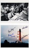 Autographs:Celebrities, Apollo 13 Launch Vehicle Color Photo Signed by Kraft, Kranz, Lunney, and Griffin. Also Mission Control Photo Signed by Lunney.... (Total: 2 Items)