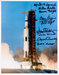 Autographs:Celebrities, Apollo 13 Launch Color Photo Signed by the Flight Directors:Windler, Griffin, Kranz, and Lunney....