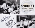 Autographs:Celebrities, Apollo 13 Mission Control Photo Montage Signed by Kranz, Griffin,and Lunney. ...