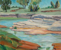 Fine Art - Painting, American:Contemporary   (1950 to present)  , Ella Virginia Leberman (American, 1886-1968). Rocks by Creek. Oil on board. 20 x 24 inches (50.8 x 61.0 cm). Signed lowe...