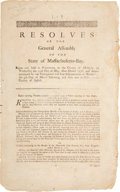 Miscellaneous:Ephemera, [John Hancock]. State of Massachusetts-Bay Resolve for March,1777....