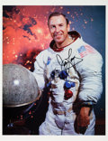 Autographs:Celebrities, James Lovell Signed White Spacesuit Color Photo, with NovagraphicsCOA. ...