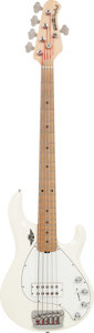 Musical Instruments:Bass Guitars, 1998 Ernie Ball Music Man StingRay White 5-String Electric Bass Guitar, Serial # 59833, Weight: 10.2 lbs....