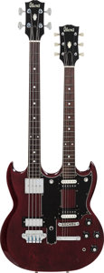 Musical Instruments:Electric Guitars, 1980's Ibanez 2404 Cherry Double Neck Solid Body Electric Guitar, Weight: 10 lbs....