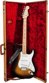 1956 Fender Stratocaster Sunburst Solid Body Electric Guitar, Serial # 11061, Weight: 7.6 lbs