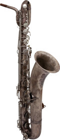 Musical Instruments:Horns & Wind Instruments, 1954 King Zephyr Silver Baritone Saxophone, Serial # 339504....