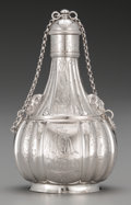 Silver Holloware, Continental, A Continental Silver Pilgrim Flask, 19th century. Marks: (effacedmarks). 6-5/8 inches high (16.8 cm). 8.39 troy ounces. ...
