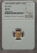 California Fractional Gold , 1870 50C Liberty Round 50 Cents, BG-1010, R.3, AU55 NGC. NGCCensus: (1/53). PCGS Population: (1/160). ...