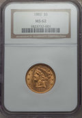Liberty Half Eagles, (2)1882 $5 MS62 NGC. NGC Census: (2794/1986). PCGS Population: (1544/933). CDN: $380 Whsle. Bid for problem-free NGC/PCGS M... (Total: 2 coins)