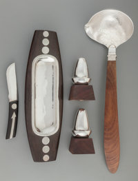A William Spratling Silver and Rosewood Soup Ladle, Butter Dish & Knife, and Pair of Shakers, Taxco, Mexico, circa 1...