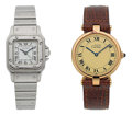 Timepieces:Wristwatch, Cartier Lady's Steel Santos & Unisex Round Wristwatch. ...(Total: 2 Items)