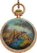 Timepieces:Pendant , Swiss 18k Gold & Enamel Pendant Watch. ...