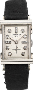Timepieces:Wristwatch, Longines Diamond Dial Gold Wristwatch. ...