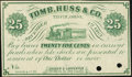 Obsoletes By State:Ohio, Tiffin, OH- Souder & Carpenter at Tomb, Huss & Co. 25¢ Dec.1, 1862 Remainder. ...