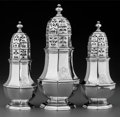 Silver Holloware, British:Holloware, A Set of Three Charles Adam Britannia Silver Octagonal Casters,London, England, circa 1714. Marks: (Britannia), (lion head ...(Total: 3 Items)